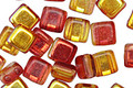 Czech Glass Luster Ketchup & Mustard 2-Hole Tile 6mm