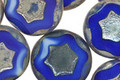 Czech Glass Cobalt Bronzed Picasso Star in Coin 17mm