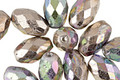 Czech Glass Antique Silver AB Faceted Rice 12x8mm