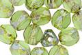 Czech Glass Opal Green Picasso Trica Beads 8x7mm