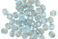 Czech Fire Polished Glass Matte Aquamarine w/ Gold Lining Round 3mm