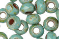Czech Glass Turquoise Light Picasso Large Hole Fire Polished Rondelle 6x9mm