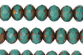Czech Glass Bronzed Turquoise Fire Polished Rondelle 5x7mm