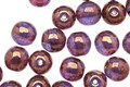 Czech Glass Gilded Transparent Amethyst Round Druk 6mm