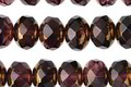 Czech Glass Royal Purple w/ Gold Fire Polished Rondelle 6x8mm