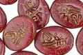 Czech Glass Cherry Oval w/ Bronzed Sphinx 15x12mm