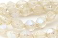 Czech Glass Matte Crystal Clear AB Etched Bicone 10x8mm
