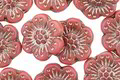 Czech Glass Pink w/ Silver Wild Rose Coin 13mm