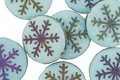 Czech Glass Laser Etched Snowflake on Matte Textured Aqua w/ Rainbow Finish Coin 16mm