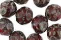 Czech Fire Polished Glass Siam Ruby Picasso Round 10mm