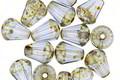 Czech Glass Montana Blue w/ Picasso Bottom Faceted Drop 8x6mm