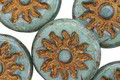Czech Glass Turquoise Picasso w/ Gold Sun Coin 22mm