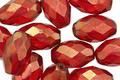 Czech Glass Ruby w/ Gold Luster Faceted Rice 12x8mm