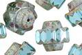 Czech Glass Beach Glass Picasso Crown Bead 13x15mm