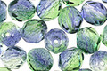 Czech Fire Polished Glass Dual Coated Blueberry/Green Tea Round 8mm