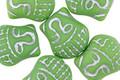 Czech Glass Matte Leaf Green w/ Silver Wash Buddha Head 16x14mm