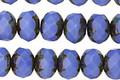 Czech Glass Opaque Starflower Fire Polished Rondelle 6x9mm