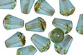 Czech Glass Matte Aquamarine w/ Picasso Bottom Faceted Drop - Top Cut 8x6mm