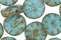 Czech Glass Sky Blue Flower Window Coin 12mm