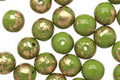 Czech Glass Olivine w/ Gold Marble Round Druk 6mm
