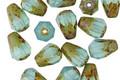 Czech Glass Caribbean Blue Picasso Faceted Drop 8x6mm