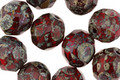 Czech Fire Polished Glass Siam Ruby Picasso Round 10mm