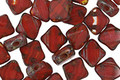 Czech Glass Lipstick Red/Crystal Picasso 4-hole Tile 6mm