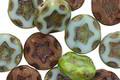 Czech Glass Cabbage Patch Mix Starflower Coin w/ Scalloped Edge 10mm
