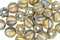 Czech Glass Bisque Picasso w/ Blue Wash Large Hole Melon Round 6mm