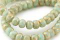 Czech Glass Sweet Mint w/ Gold Flecks Fire Polished Rondelle 3.5x5mm