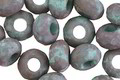 Czech Glass Matte Dark Bronzed Turquoise Large Hole Fire Polished Rondelle 6x9mm