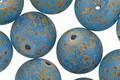Czech Glass Matte Caribbean Blue Picasso Round Druk 12mm