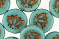 Czech Glass Bronzed Turquoise Lotus Coin 14mm