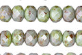 Czech Glass Luster Greenstone Fire Polished Rondelle 5x7mm