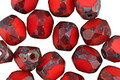 Czech Glass Red Hot Picasso Trica Beads 8x7mm