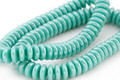 Czech Glass Turquoise w/ Silver Luster Spacer 2x6mm