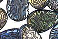 Czech Glass Laser Etched Groovy Swirls on Jet w/ Rainbow Finish Teardrop 12x18mm