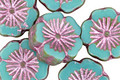 Czech Glass Turquoise Picasso w/ Metallic Pink Hibiscus Coin 14mm