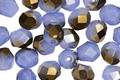 Czech Glass Metallic Sapphire Opal Fire Polished Round 6mm