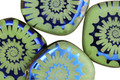 Czech Glass Laser Etched Ammonite on Jade w/ Rainbow Finish Freeform Coin 20mm
