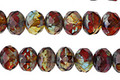 Czech Glass Vineyard Picasso Mix Fire Polished Rondelle 5x7mm