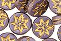 Czech Glass Gladiola w/ Gold Starflower Coin 12mm
