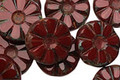 Czech Glass Pomegranate Flower Window Coin 12mm