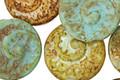 Czech Glass Opaque Matte Aloe w/ Picasso Ammonite Coin 17mm