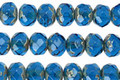 Czech Glass Capri Blue Fire Polished Rondelle 5x7mm