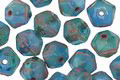Czech Glass Blue Lilies English Cut Bead 6x8mm