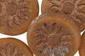 Czech Glass Etched Pumpkin w/ Bronze Sun Coin 22mm