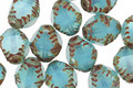 Czech Glass Blue Opal Etched Bicone 10x8mm