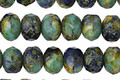 Czech Glass Earth Picasso Fire Polished Rondelle 6x9mm