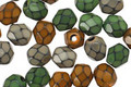 Czech Fire Polished Glass Earthy Mix Round Snake Beads 6mm